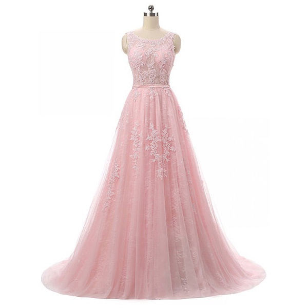 Feminine Pink Prom Dress with Gorgeous Lace Appliques, Illusion Neck ...