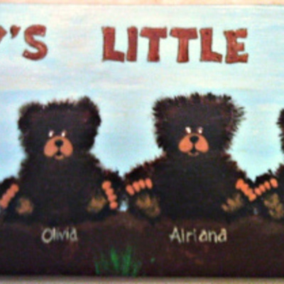 "6"" x 12"" black bear cubs (personalized sign) wall decor"