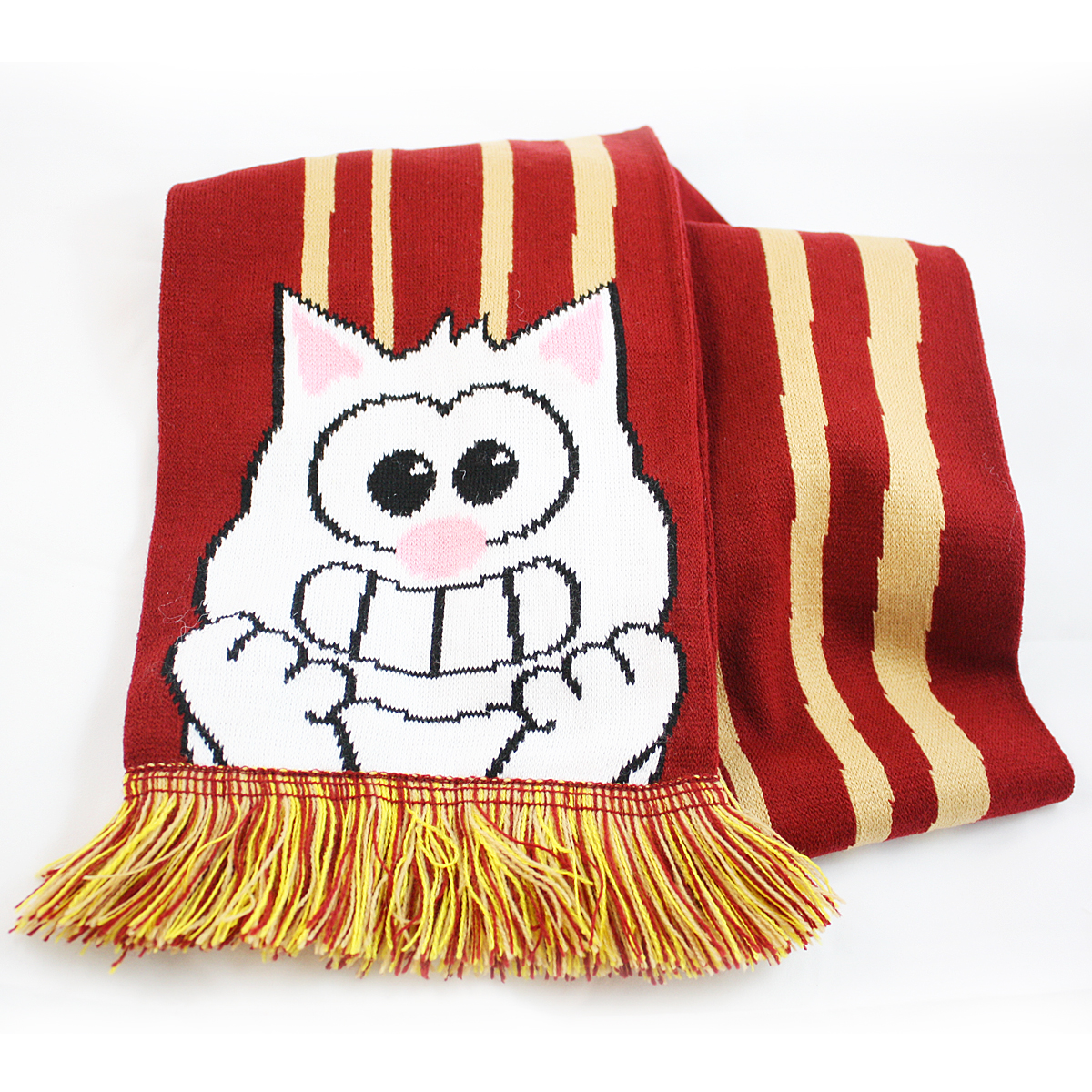Knitting Pattern Bacon Scarf : Purridge Bacon & Eggs Knitted Scarf ? Furry Feline Creatives ? Online Sto...