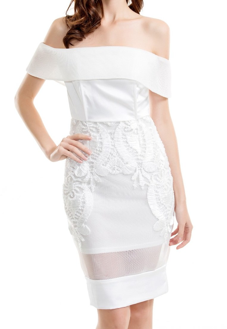 Outletpad white strapless embroidered lace dress