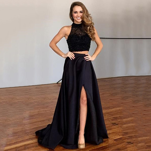 high neck beaded illusion tulle two piece long prom dress