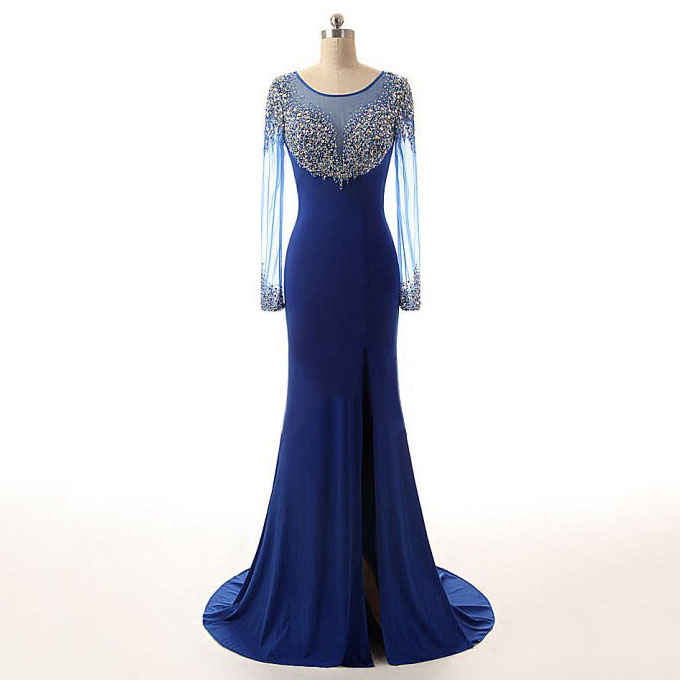 Scoop Neck Royal Blue Long Prom Dress, Shining Crystal Bead Sequined ...