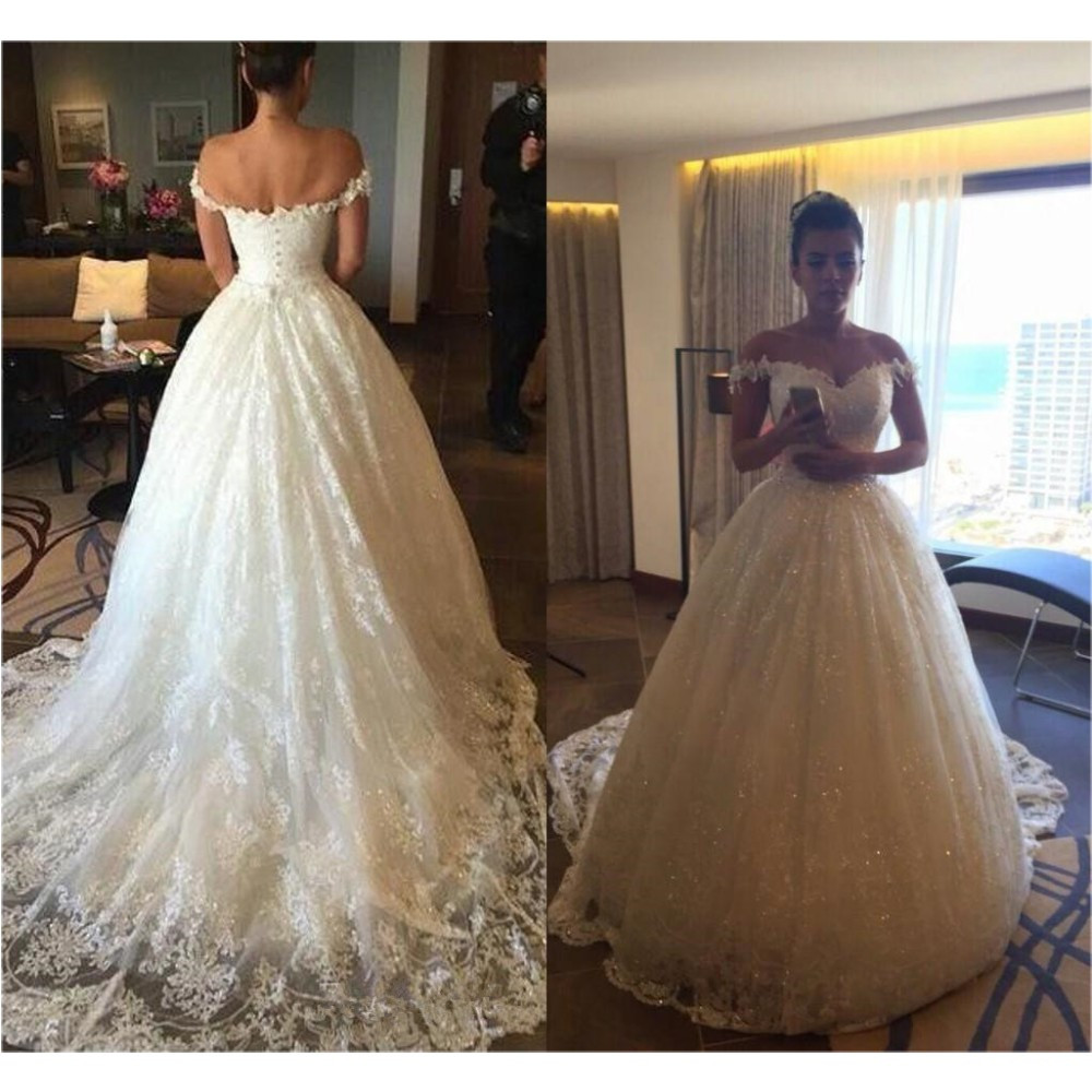 W36 Charming Off the Shoulder Lace Formal Plus Size Wedding Dress ...