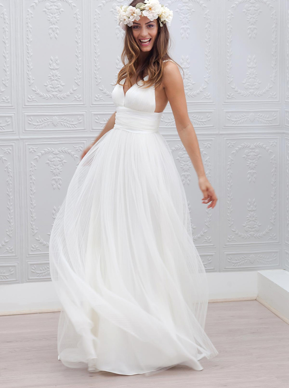 Sexy deep v neck wedding dress backless chiffon long for Backless chiffon wedding dress