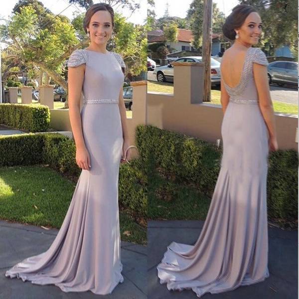 Cap sleeve prom dress, elegant prom dress, long prom dress, cheap ...