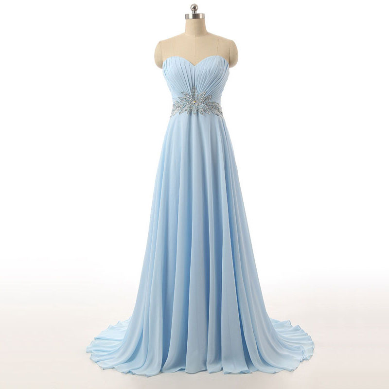 Light Sky Blue Prom Dress with Ruching Detail, Simple Prom Dress ...