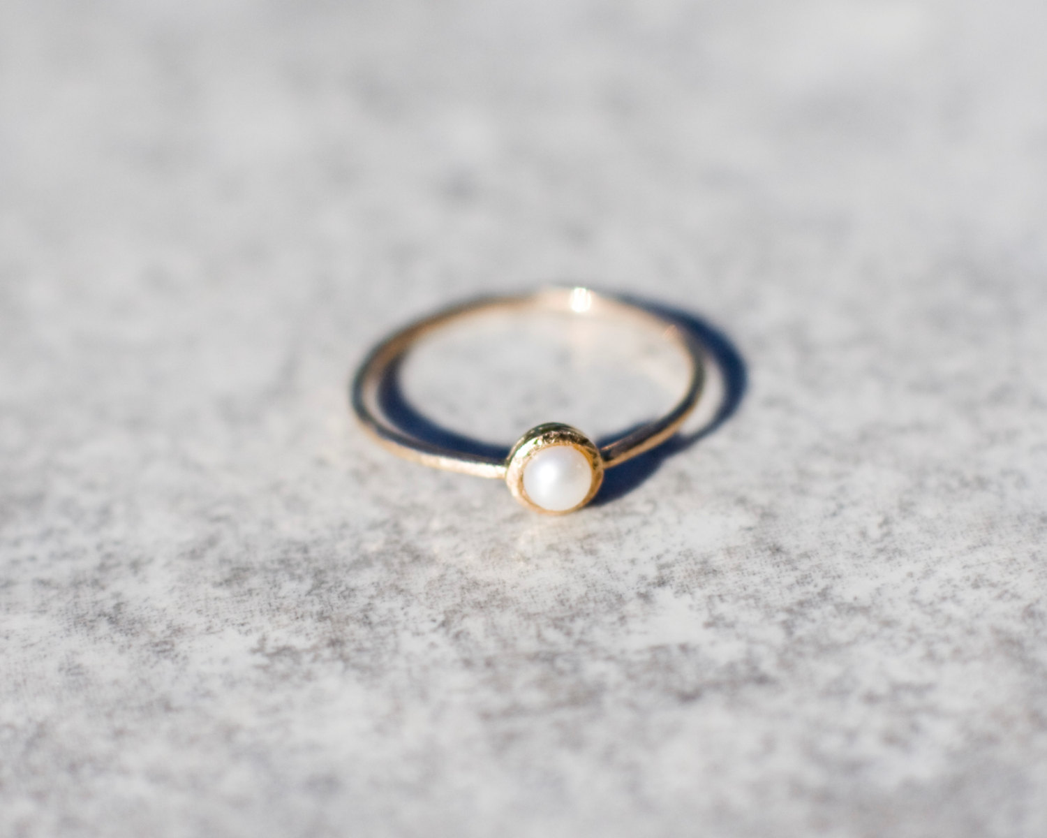 Tiny Pearl Ring In 14k Gold Engagement Solid Freshwater