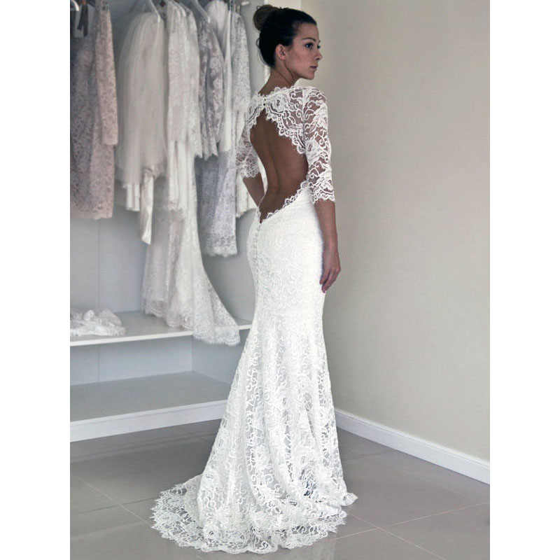 Scoop Neck Illusion White Lace Long Wedding Dress Open Back Sweep