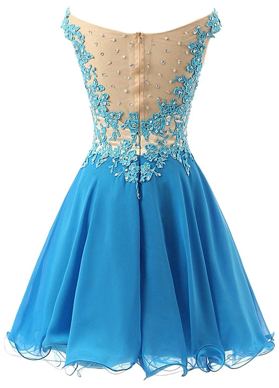 Blue Off Shoulder Lace Homecoming Dress,Short Lace Prom Dress,Knee ...