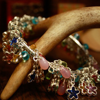 Spring Colors Cluster Style Bangle Bracelet