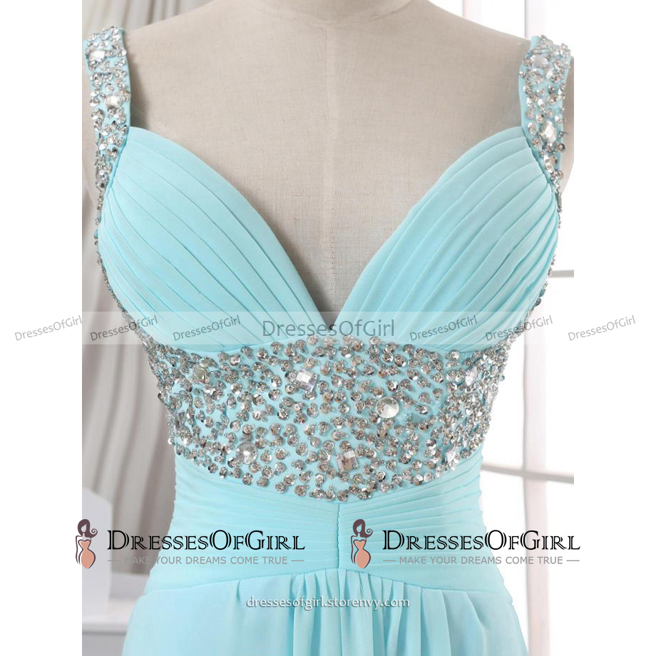 Beaded Sequins Straps Ruched A-line Prom Dress, Lace-up Baby Blue ...