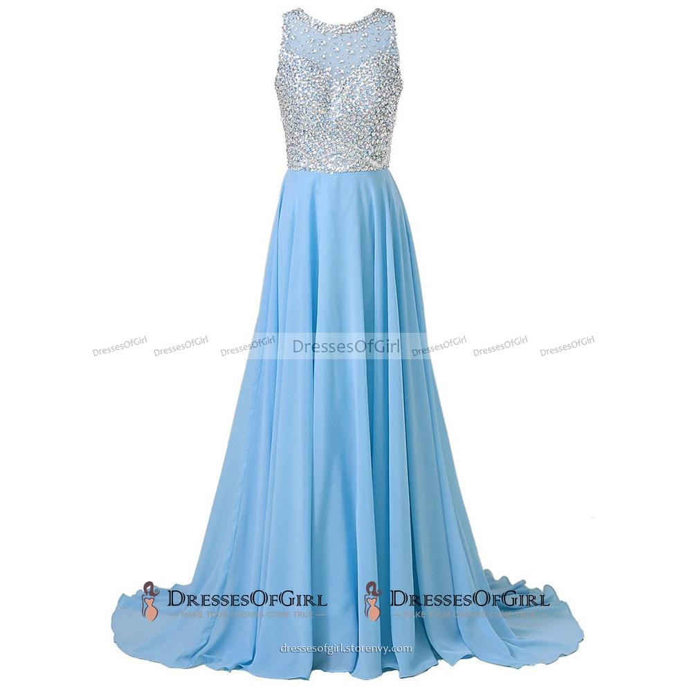 Jewel Neck Crystal Beaded Long Prom Dress, Black Chiffon Sequins ...