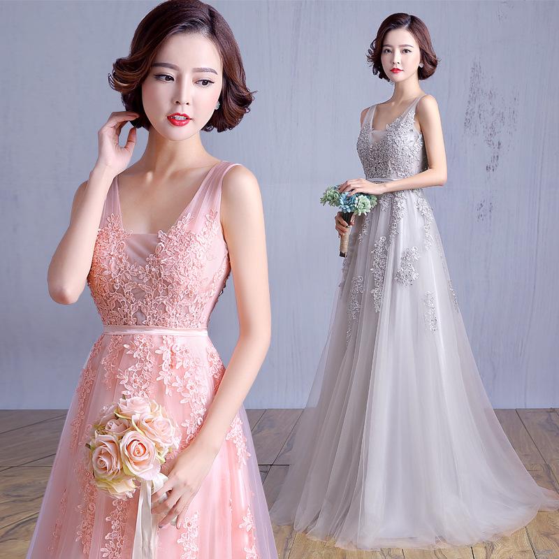 A34 Vestido De Noiva 2016 New Fashion Long Pink Lace Evening Dresses ...