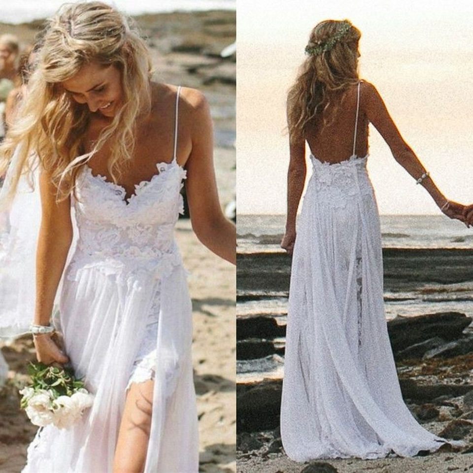 L6 Sexy Spaghetti Straps Long Chiffon Prom Dress, Simple Wedding ...