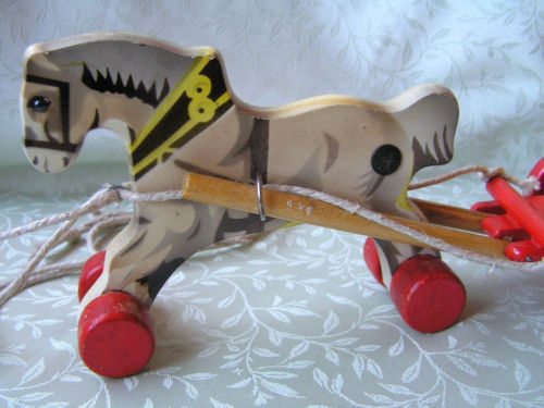 Vintage Toys From The 60s : Overstocked warehouse antique vintage wooden horse cart