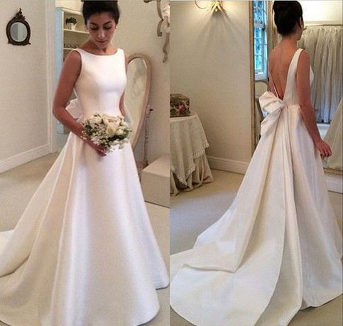 Wd46 satin backless wedding dresseswedding dresscustom made wd46 satin backless wedding dresseswedding dresscustom made wedding gown junglespirit Images