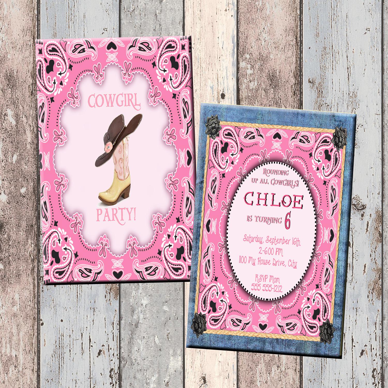 Cowgirl Pink Personalized Birthday Invitation 2 Sided, Birthday ...