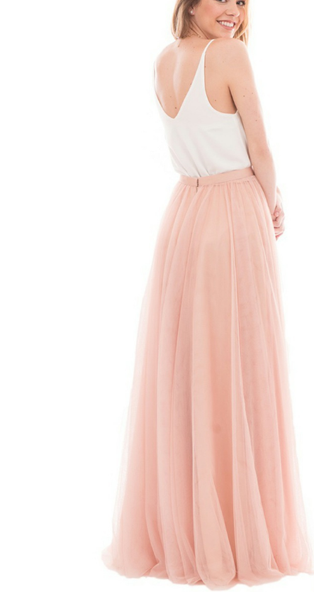 Simple A-line Blush Pink Tulle Long Bridesmaid Dress with White Top ...