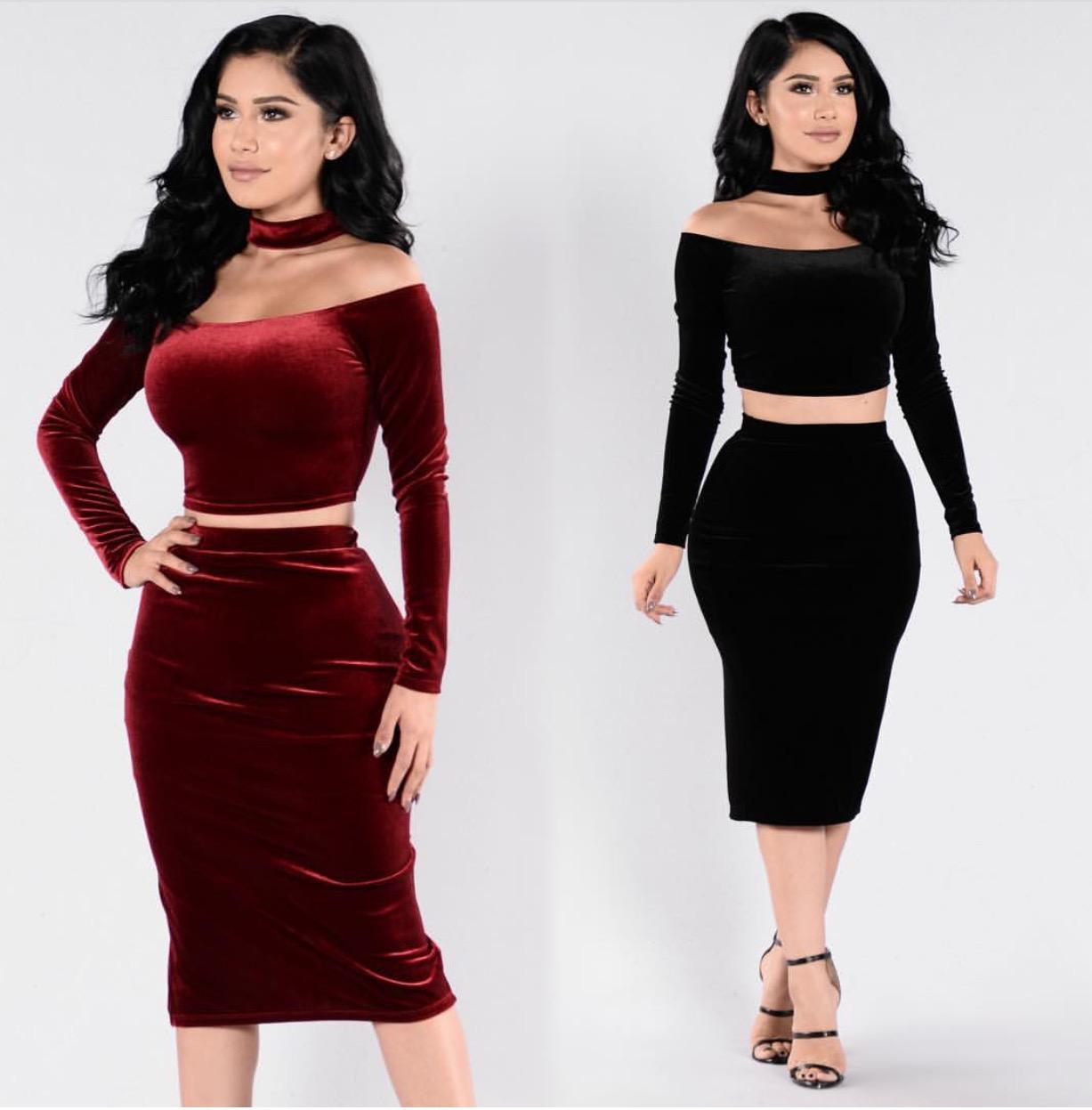 Sherrie Choker Two Piece Velvet Bodycon Dress · Modas Inc. · Online ... bf9c4617572f
