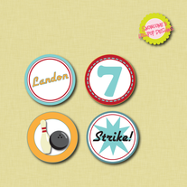 Printable Bowling Circle Labels - Cupcake Toppers, Sitckers, and more