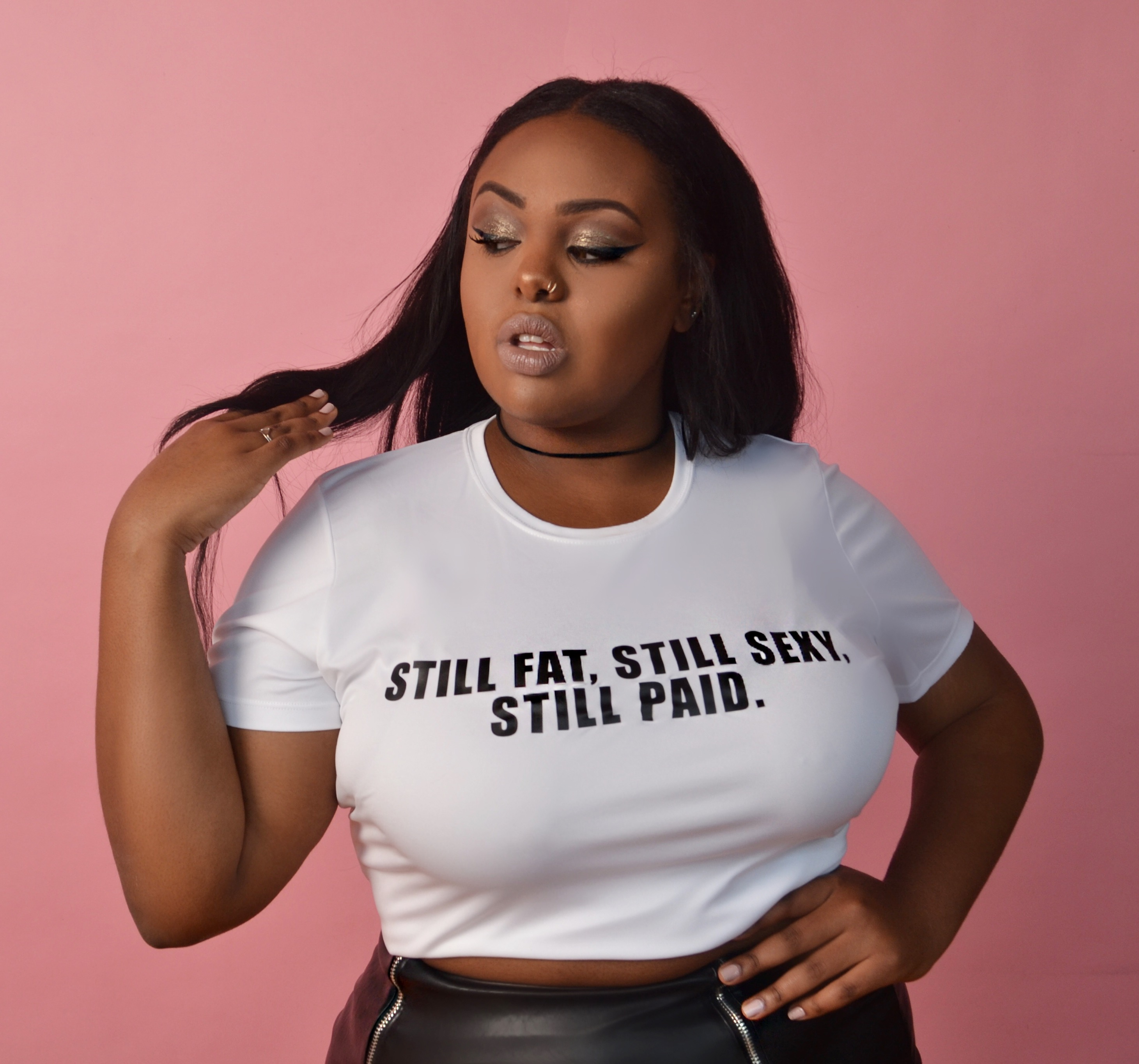 Still Fat Still Sexy Still Paid White Contoured Fit Tee