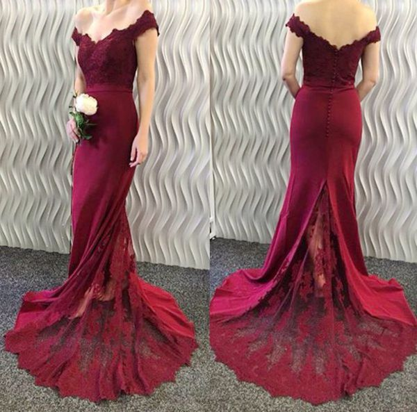 Elegant Off Shoulder Formal Long Lace Evening Prom Dress With Lace