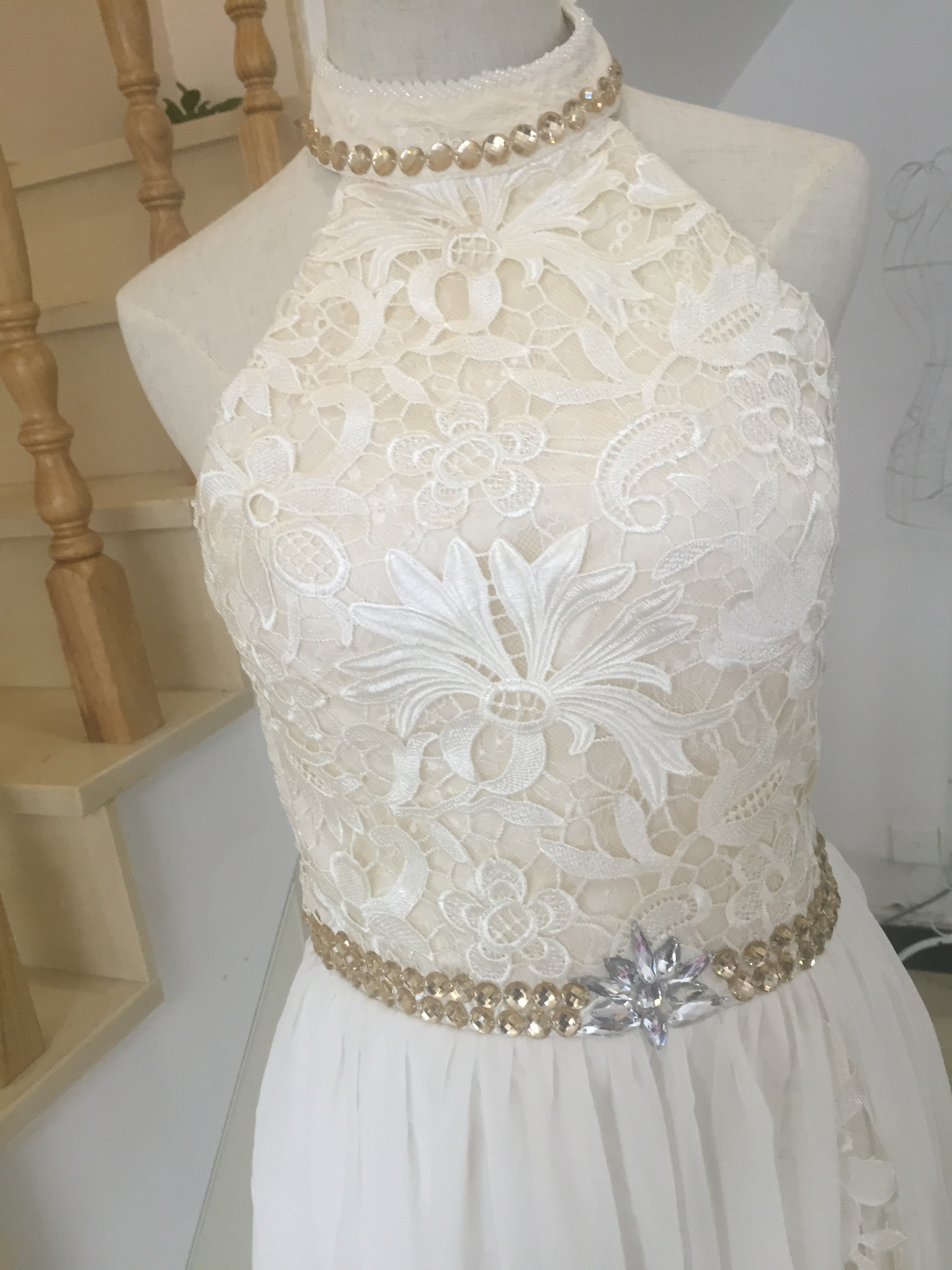 A402 Real Made Top Selling A Line Wedding Dresses, Halter Charming ...