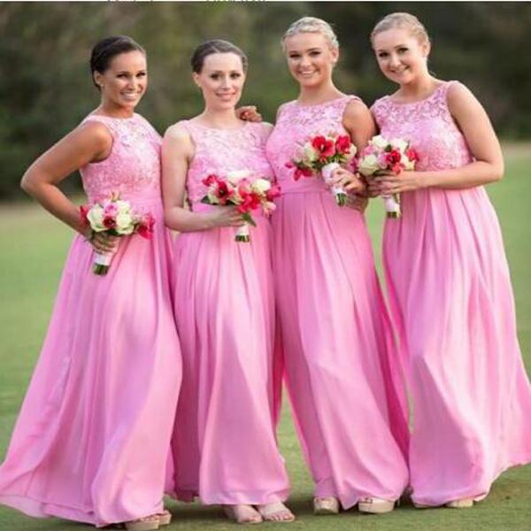 A239 Cheap Chiffon Long Prom Dresses, Lace Top Bridesmaid Dresses ...
