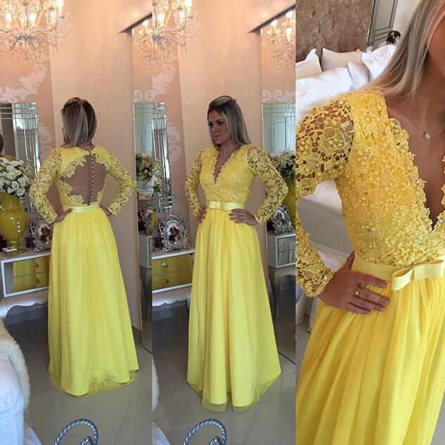 Yellow Long Sleeve Lace Prom Dresses