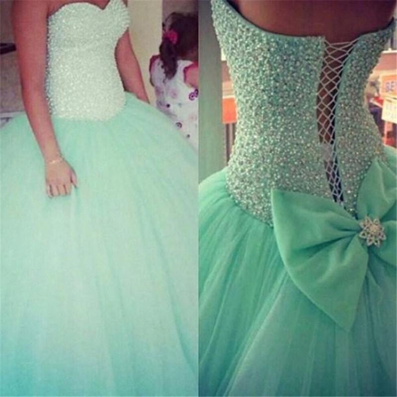 Sweetheart Beads Mint Tulle Quinceanera Dresses Long Ball Gown ...