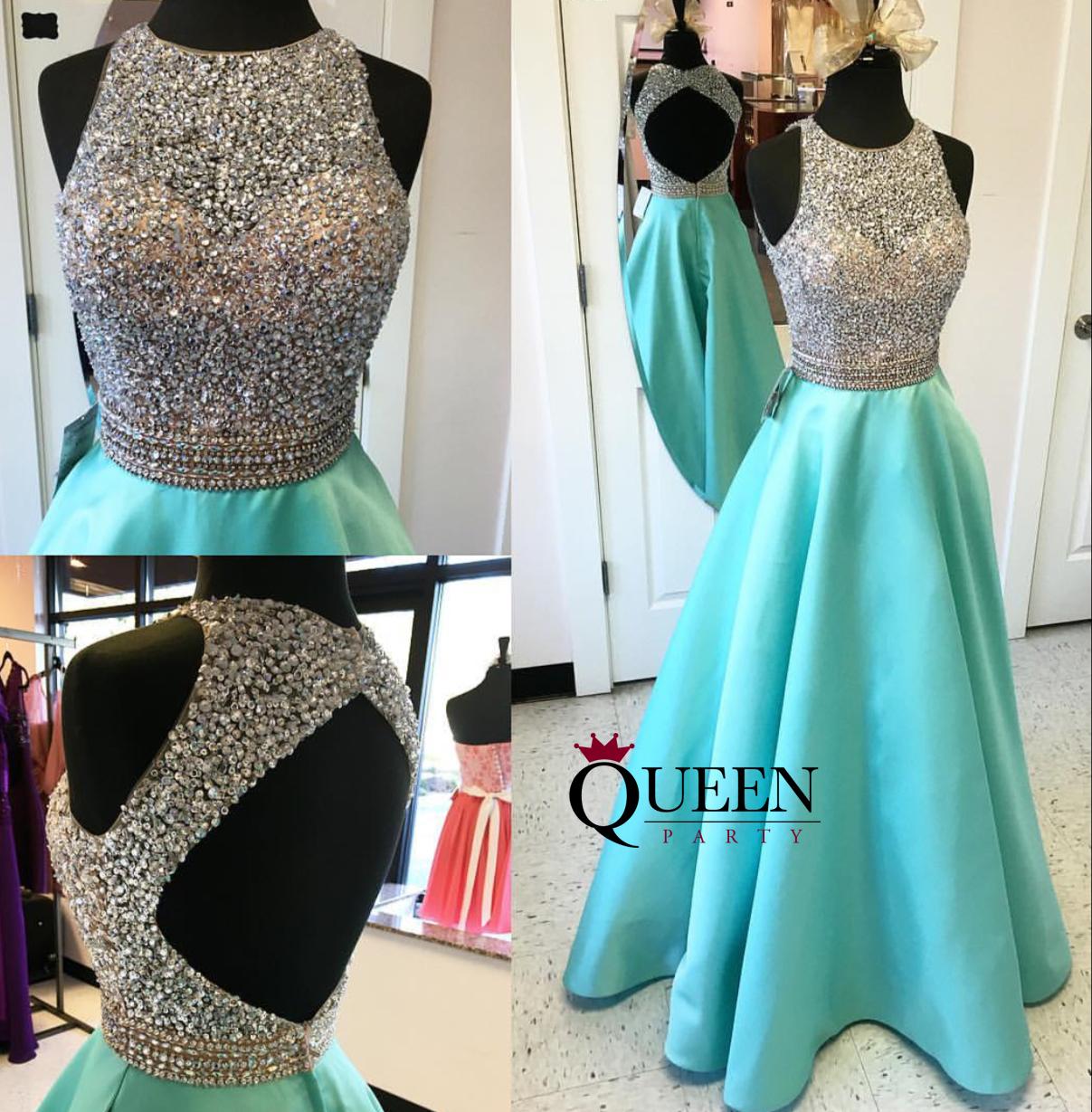 Elegant Mint Satin A-Line Beaded Sequins Bodice Sheer Illusion ...