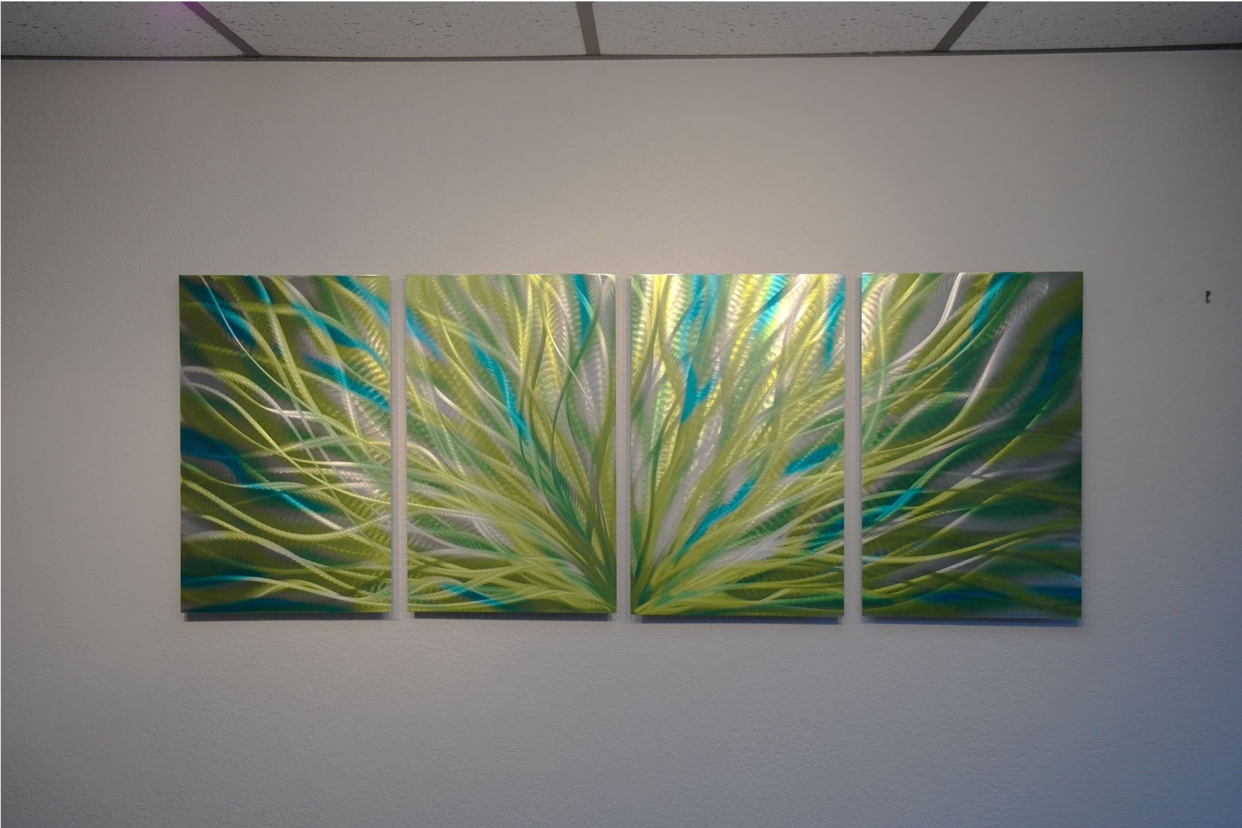 Colorful Metal Wall Art Radiance Cyan Chartreuse  Abstract Metal Wall Art Contemporary