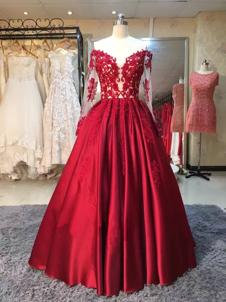 Burgundy Long Sleeve Long Prom Dress,Prom Dress,Evening Dress,Prom ...