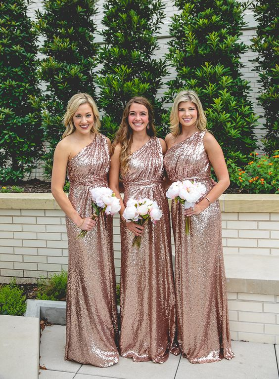 Rose gold sequins bridesmaid dress long bridesmaid dress for Metallic bridesmaid dresses wedding