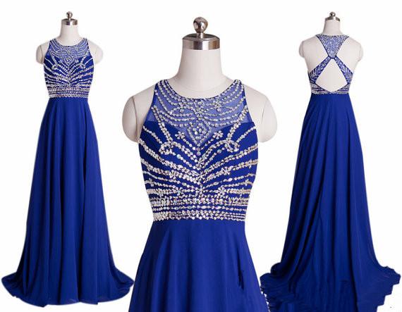 Royal Blue Prom Dresses Elegant A Line Beaded Halter Bandage ...