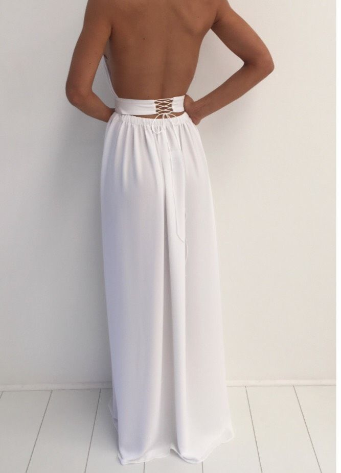 A430 White Chiffon Gold Necklace Halter Side Slit Maxi Long Prom ...