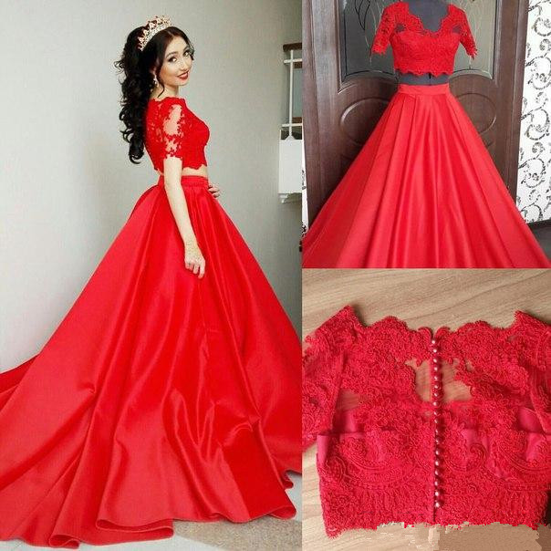 Two Piece Prom Dresses,Red Prom Dresses,Short Sleeve Prom Dresses ...
