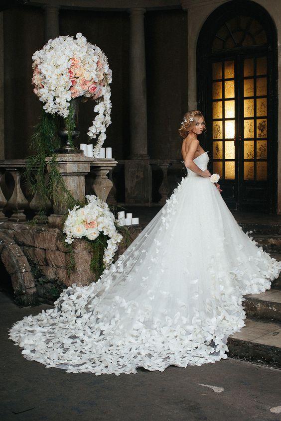 Romantic Wedding Dress,Princess Spring Wedding Gowns,White Wedding ...
