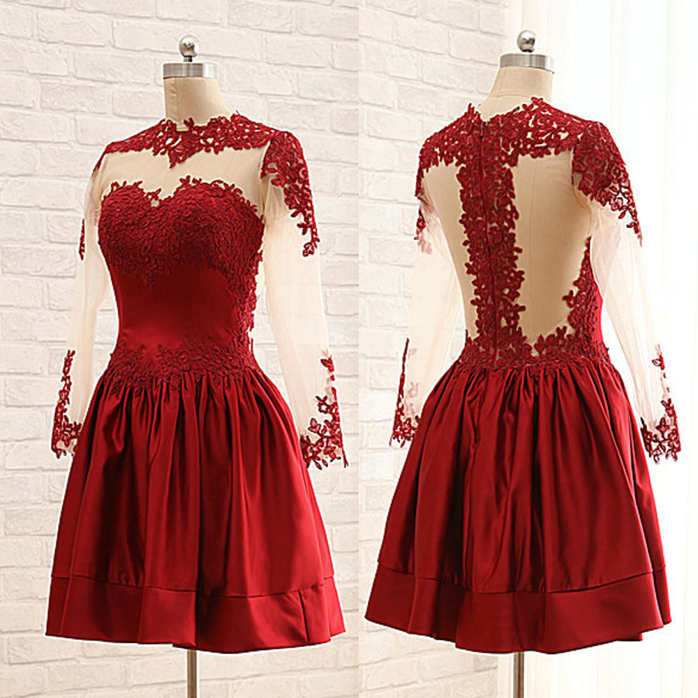 Burgundy lace long sleeve short prom dress,homecoming dress · Dreamy ...