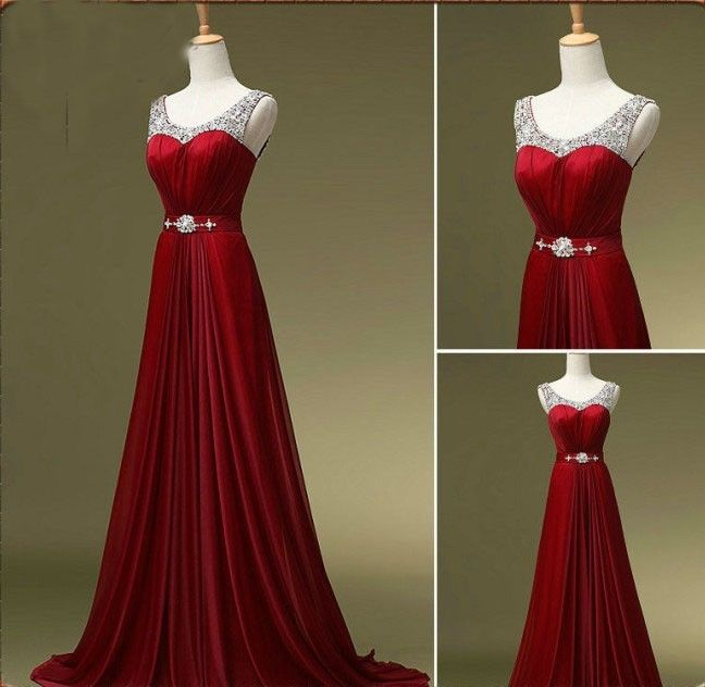 Elegant Wine Red Evening Gowns Long Chiffon Silver Beaded Chiffon ...