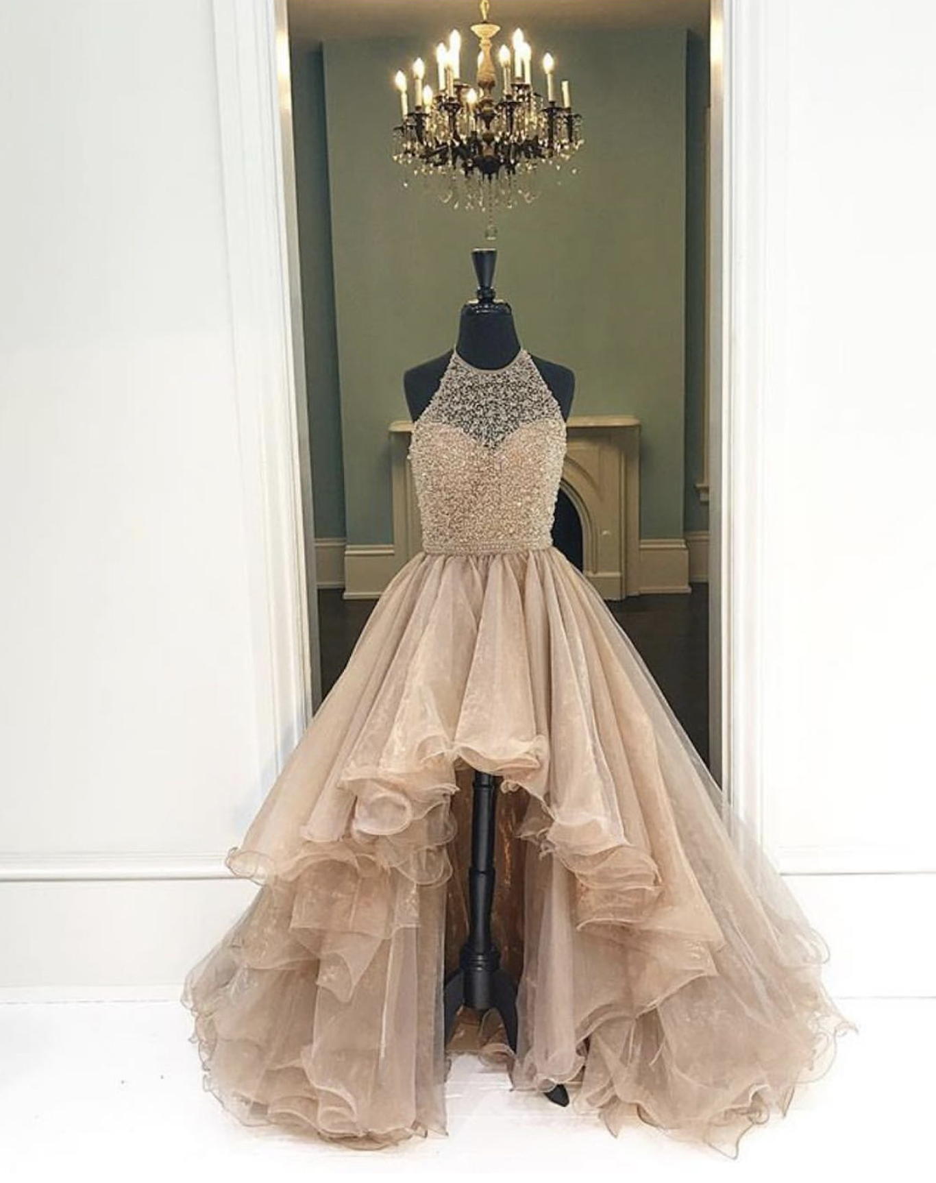 Sweetheart Girl | Champagne round neck high-low prom dresses ...