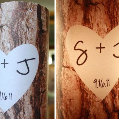 Table numbers -  luminaries - tree trunk - tree bark - carved initials design