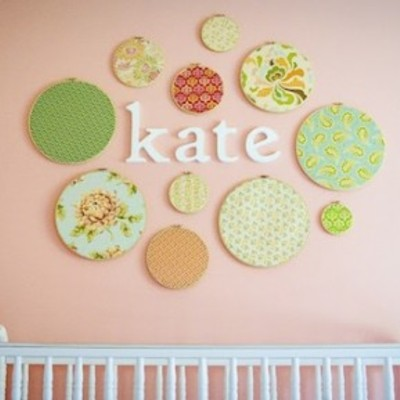 Nursery embroidery ring decor - set of 6