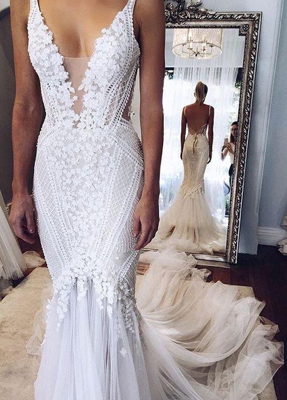 Elegant Appliques V-Neck Mermaid Open-Back Wedding Dress,High ...