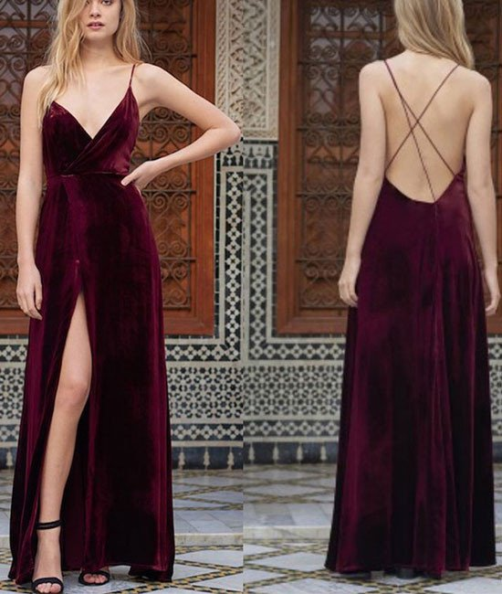 simple burgundy v neck velvet long prom dresses, backless evening ...