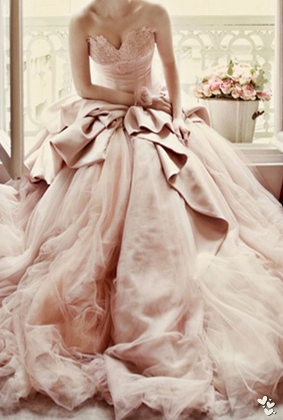 Ball Gown Lace wedding dress for 2017 brides Blush Pink Wedding ...