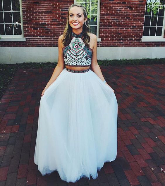 Embroidery Two Piece White Prom Dresses,2017 2-Pieces ...
