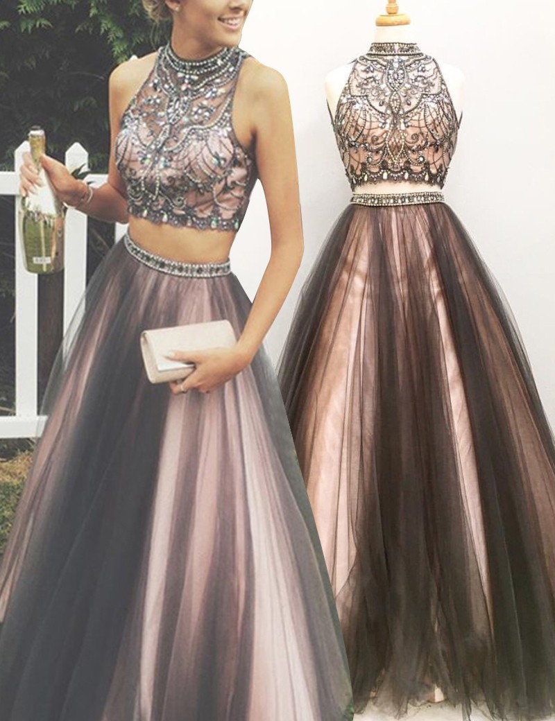 Two Piece Formal Gown With Beaded Crop Top,Backless Prom Dress ...
