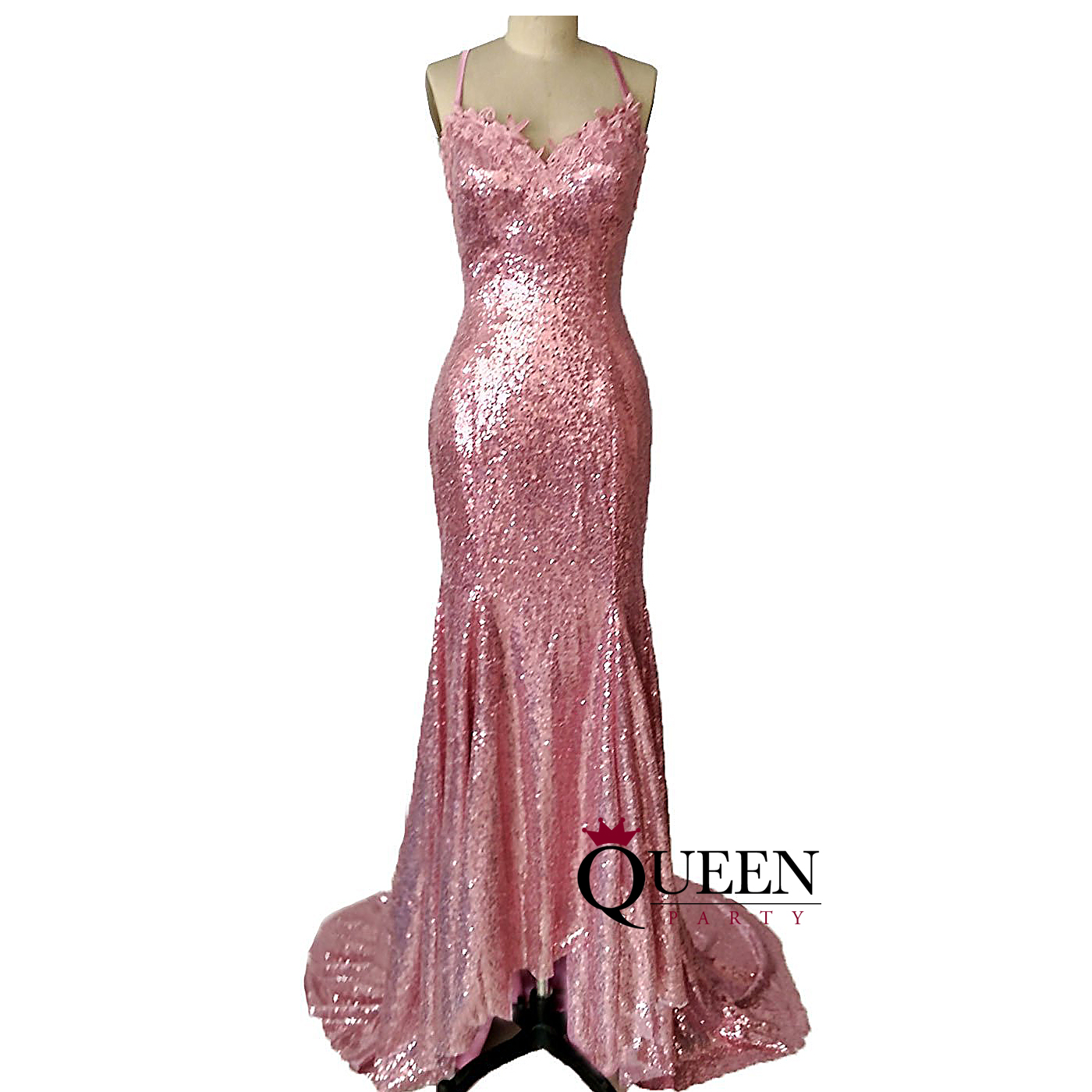 Rose Gold Sequins Spaghetti Strap Mermaid Evening Gown, Lace V Neck ...