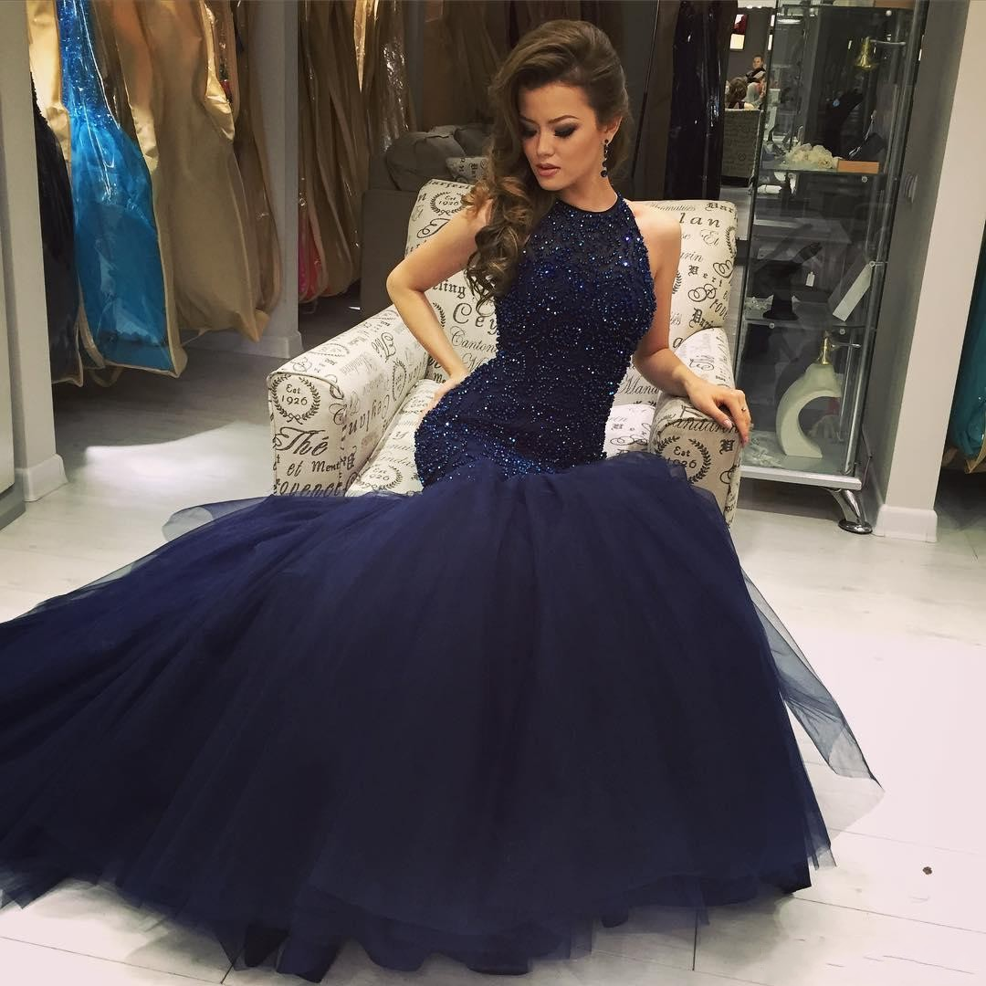 Dark Navy Mermaid Prom Dress Sleeveless Beading Luxury Evening Gowns ...